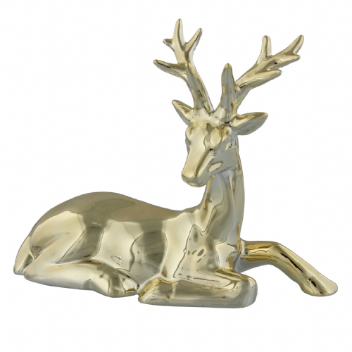 Shiny Metallic Gold Reindeer Christmas Ornament - Stag Laying down Christmas decoration